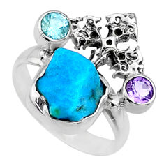 6.85cts natural sleeping beauty turquoise raw 925 silver ring size 6.5 r66671