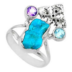 6.57cts natural sleeping beauty turquoise raw 925 silver ring size 7.5 r66672