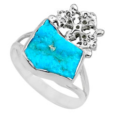 7.12cts natural sleeping beauty turquoise raw 925 silver ring size 9.5 r66676