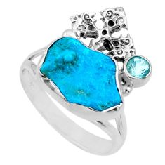 7.04cts natural sleeping beauty turquoise raw 925 silver ring size 9.5 r66678