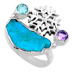 7.33cts natural sleeping beauty turquoise raw 925 silver ring size 6.5 r66682