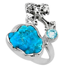 7.33cts natural sleeping beauty turquoise raw 925 silver ring size 7.5 r66687