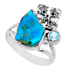 7.04cts natural sleeping beauty turquoise raw 925 silver ring size 9.5 r66688