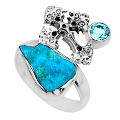 6.04cts natural sleeping beauty turquoise raw 925 silver ring size 5.5 r66690