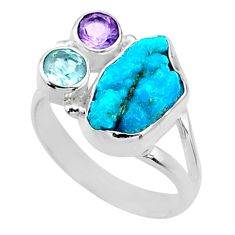 8.94cts natural sleeping beauty turquoise raw 925 silver ring size 9.5 r66857
