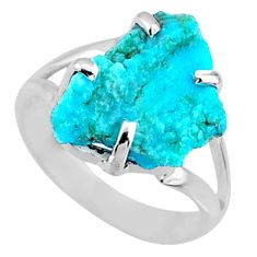 7.00cts natural sleeping beauty turquoise rough 925 silver ring size 7.5 r66861