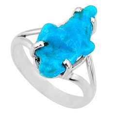 7.61cts natural sleeping beauty turquoise rough 925 silver ring size 8.5 r66862