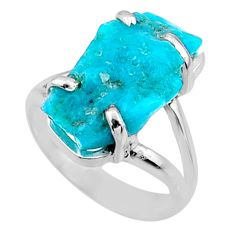 7.62cts natural sleeping beauty turquoise rough 925 silver ring size 6.5 r66867
