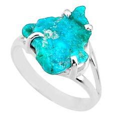7.24cts natural sleeping beauty turquoise rough 925 silver ring size 9.5 r66871