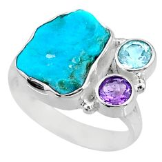 8.42cts natural sleeping beauty turquoise raw 925 silver ring size 8.5 r73342