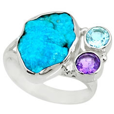 10.41cts natural sleeping beauty turquoise raw 925 silver ring size 8.5 r73346
