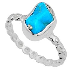 3.69cts natural sleeping beauty turquoise rough 925 silver ring size 6 r65593