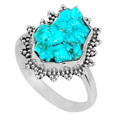 5.22cts natural sleeping beauty turquoise rough 925 silver ring size 7 r62221