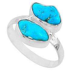 7.08cts natural sleeping beauty turquoise raw 925 silver ring size 7 r65626