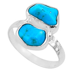 7.61cts natural sleeping beauty turquoise rough 925 silver ring size 7 r65632