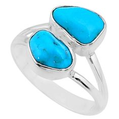 8.95cts natural sleeping beauty turquoise raw 925 silver ring size 7 r65636
