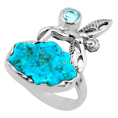 7.04cts natural sleeping beauty turquoise raw 925 silver ring size 7 r66686