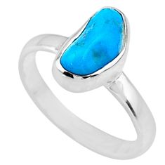 4.89cts natural sleeping beauty turquoise rough 925 silver ring size 8 r65581