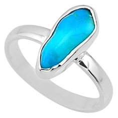 5.19cts natural sleeping beauty turquoise rough 925 silver ring size 8 r65582