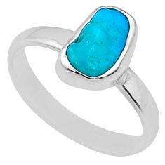 5.26cts natural sleeping beauty turquoise raw 925 silver ring size 8 r65583