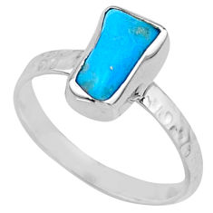 3.95cts natural sleeping beauty turquoise rough 925 silver ring size 8 r65591