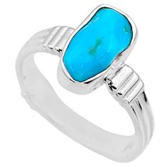 6.88cts natural sleeping beauty turquoise rough 925 silver ring size 8 r65596