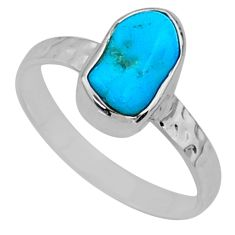 4.40cts natural sleeping beauty turquoise rough 925 silver ring size 8 r65598