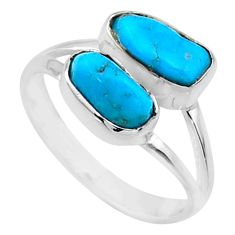 8.67cts natural sleeping beauty turquoise rough 925 silver ring size 8 r65628