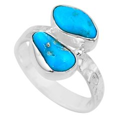 10.69cts natural sleeping beauty turquoise raw 925 silver ring size 8 r65634
