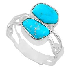 9.27cts natural sleeping beauty turquoise rough 925 silver ring size 8 r65639