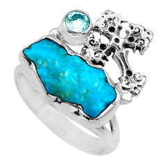 7.89cts natural sleeping beauty turquoise raw 925 silver ring size 8 r66695
