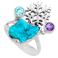7.54cts natural sleeping beauty turquoise raw 925 silver ring size 8 r66696