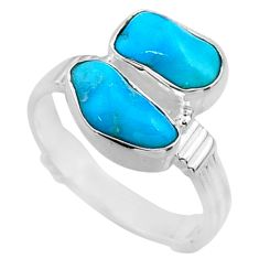 11.18cts natural sleeping beauty turquoise rough 925 silver ring size 9 r65633