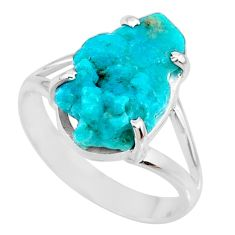 Natural sleeping beauty turquoise raw silver solitaire ring size 9.5 r73445