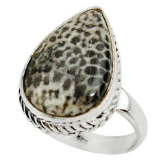 Natural stingray coral from alaska 925 silver solitaire ring size 7.5 r28067