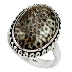 Natural stingray coral from alaska 925 silver solitaire ring size 7.5 r28124