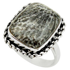 Natural stingray coral from alaska 925 silver solitaire ring size 9.5 r28722