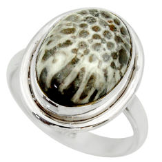 Natural stingray coral from alaska 925 silver solitaire ring size 8.5 r28727