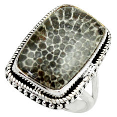 Natural stingray coral from alaska 925 silver solitaire ring size 7.5 r28733