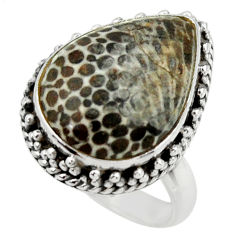 Natural stingray coral from alaska 925 silver solitaire ring size 7.5 r28734