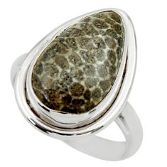 Natural stingray coral from alaska 925 silver solitaire ring size 8.5 r28735