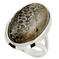 Natural stingray coral from alaska 925 silver solitaire ring size 7.5 r28786