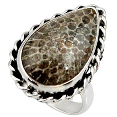 Natural stingray coral from alaska 925 silver solitaire ring size 8 r28073