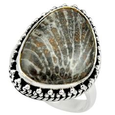 Natural stingray coral from alaska 925 silver solitaire ring size 8 r28736