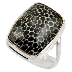 Natural stingray coral from alaska 925 silver solitaire ring size 8 r28790