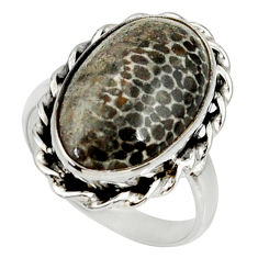 Natural stingray coral from alaska 925 silver solitaire ring size 9 r28129