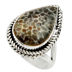 8.42cts natural stingray coral from alaska silver solitaire ring size 6.5 r28070