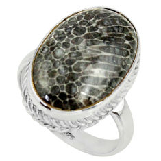 Natural stingray coral from alaska silver solitaire ring size 7.5 r28071