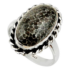 7.66cts natural stingray coral from alaska silver solitaire ring size 8.5 r28077
