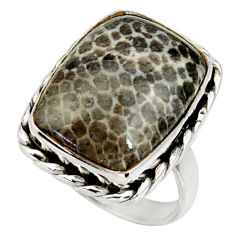 14.12cts natural stingray coral from alaska silver solitaire ring size 7 r28061